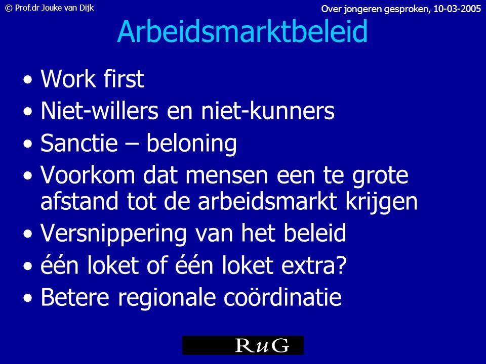 Arbeidsmarktbeleid Work first Niet-willers en niet-kunners