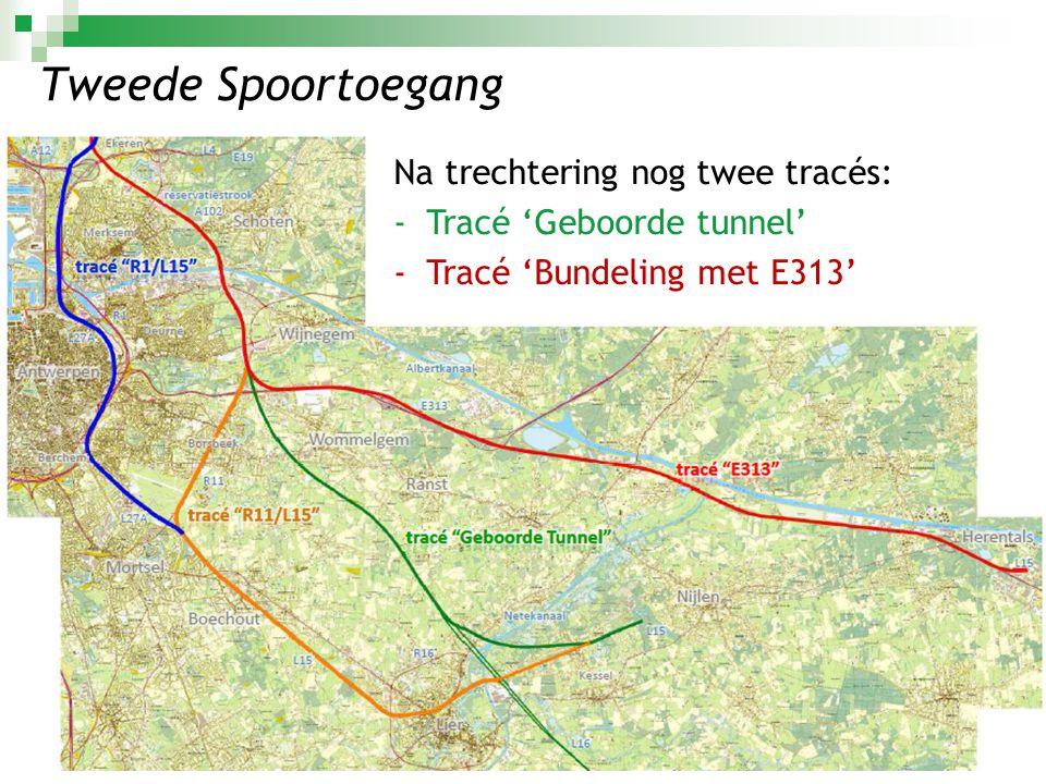 Tweede Spoortoegang Na trechtering nog twee tracés: