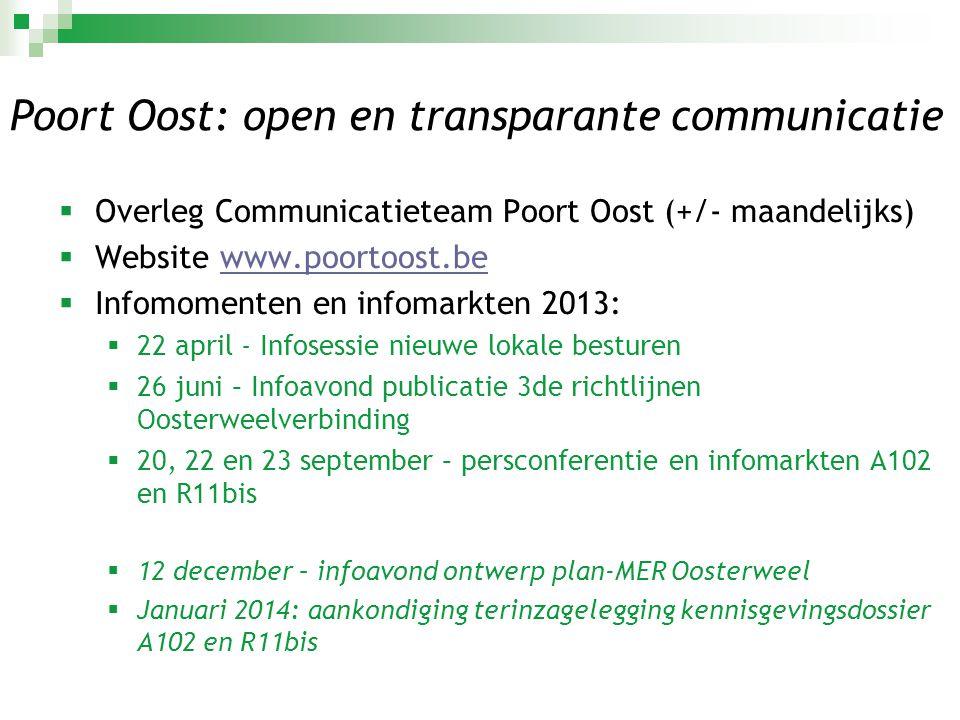 Poort Oost: open en transparante communicatie