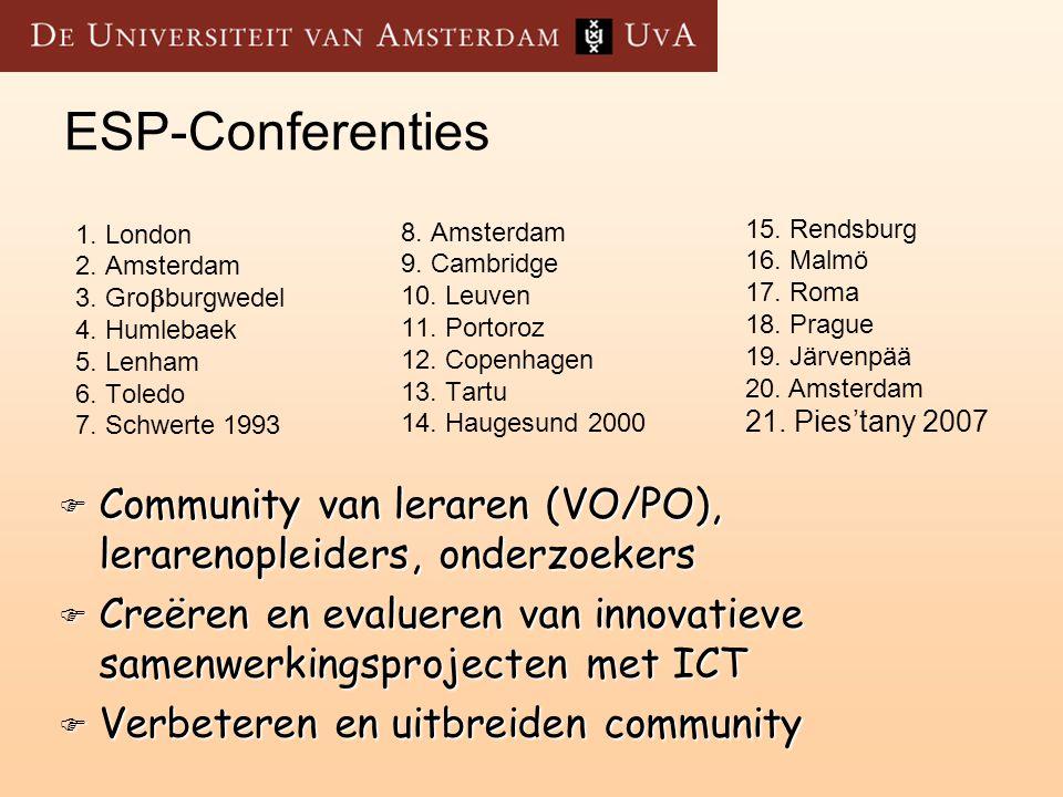 ESP-Conferenties 1. London. 2. Amsterdam. 3. Groburgwedel. 4. Humlebaek. 5. Lenham. 6. Toledo.