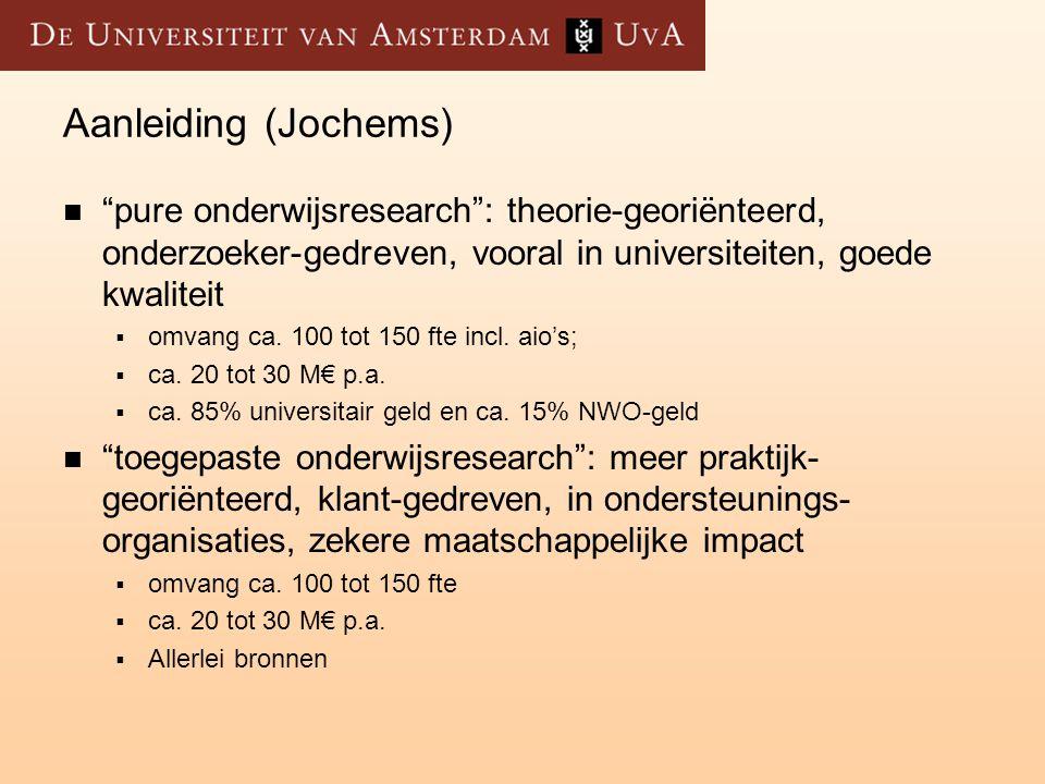 Aanleiding (Jochems) pure onderwijsresearch : theorie-georiënteerd, onderzoeker-gedreven, vooral in universiteiten, goede kwaliteit.