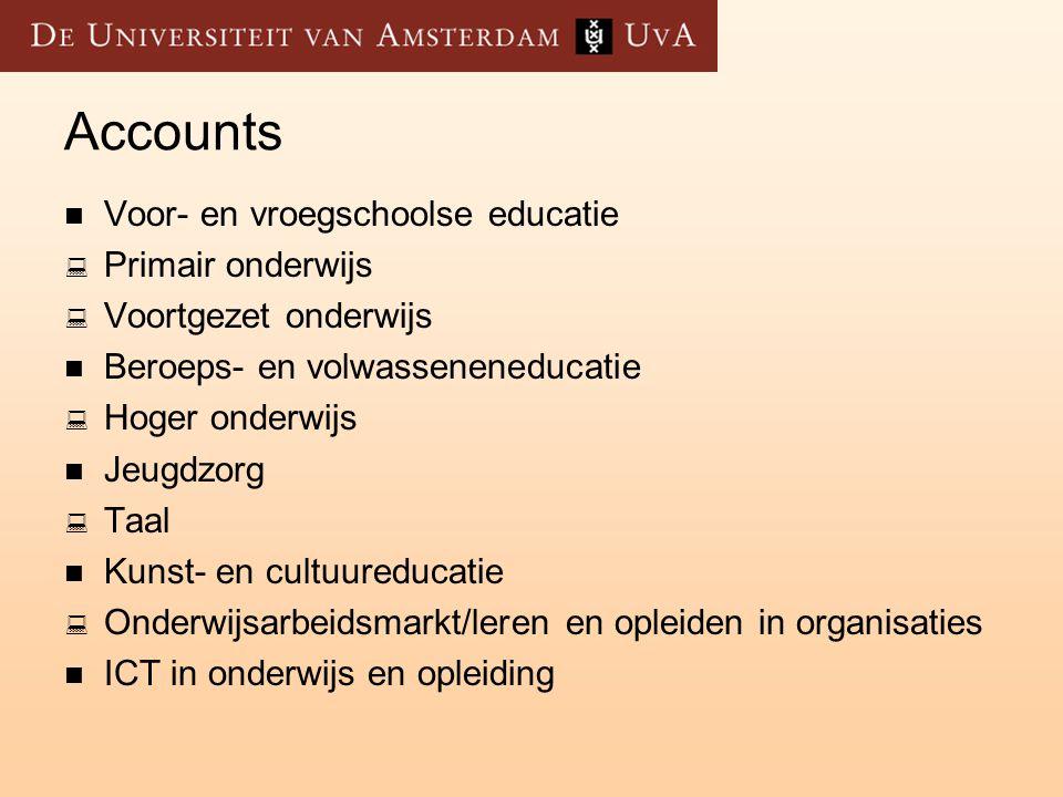 Accounts Voor- en vroegschoolse educatie Primair onderwijs