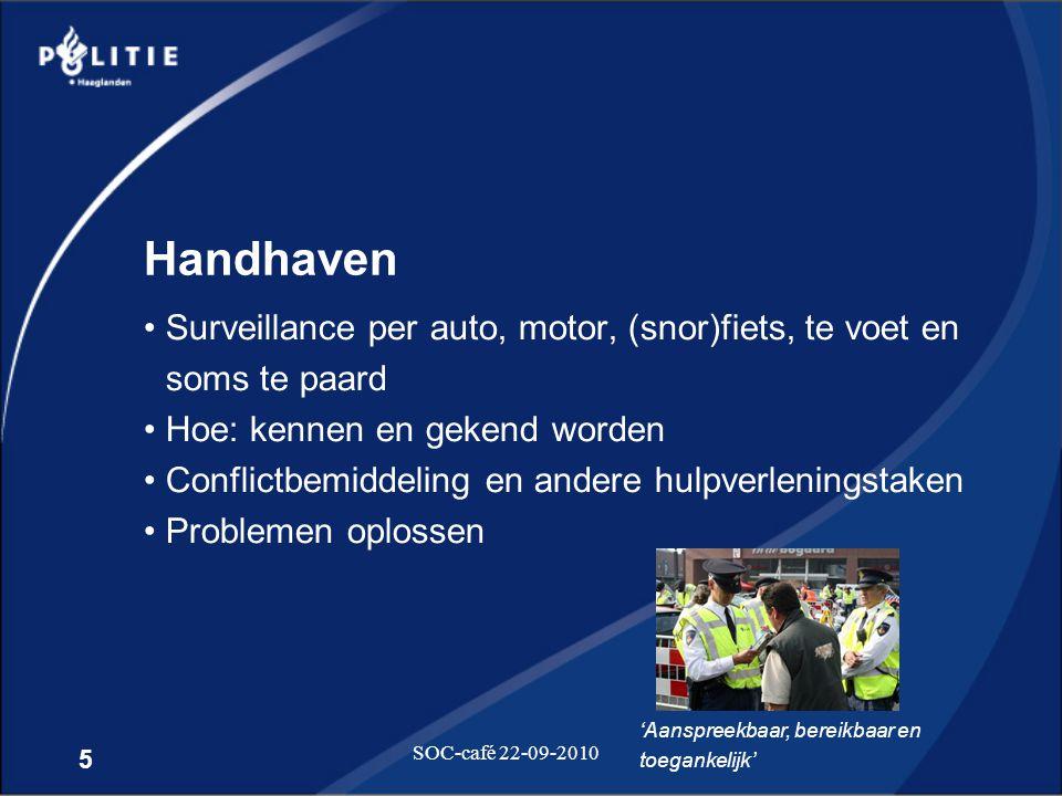 Handhaven Surveillance per auto, motor, (snor)fiets, te voet en soms te paard. Hoe: kennen en gekend worden.