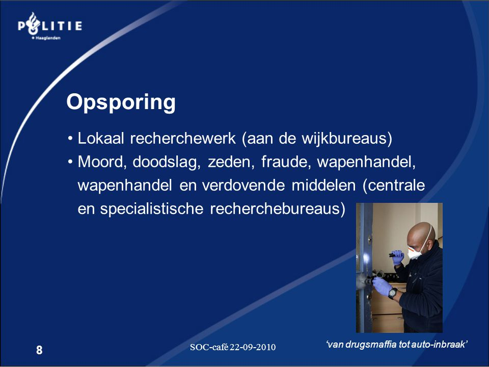 Opsporing Lokaal recherchewerk (aan de wijkbureaus)