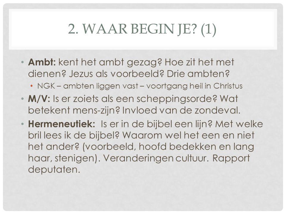 2. Waar begin je (1) Ambt: kent het ambt gezag Hoe zit het met dienen Jezus als voorbeeld Drie ambten