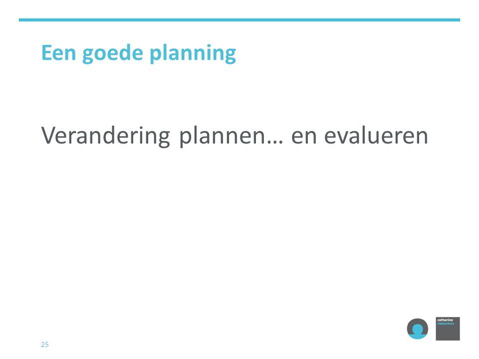 Verandering plannen… en evalueren