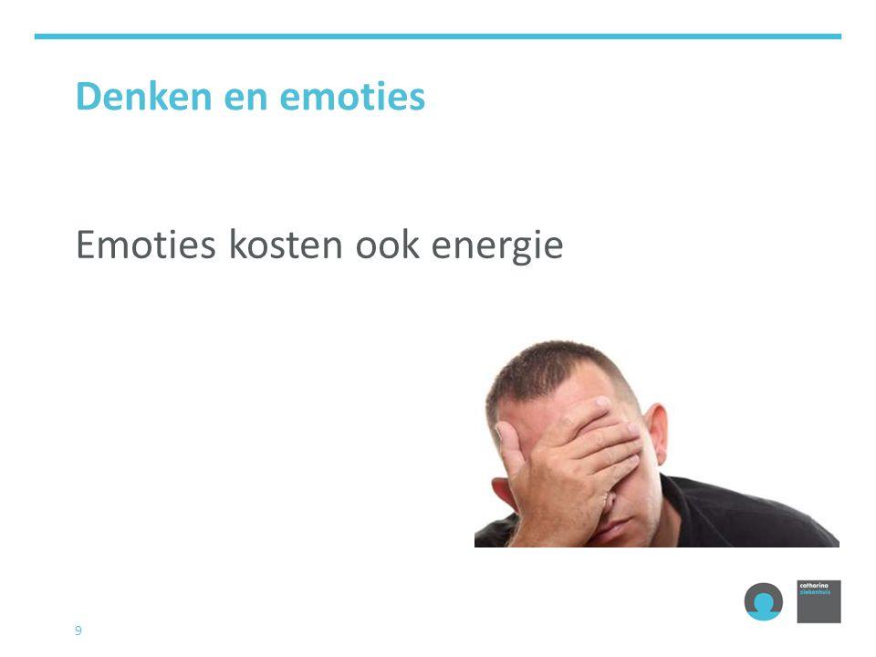 Denken en emoties Emoties kosten ook energie