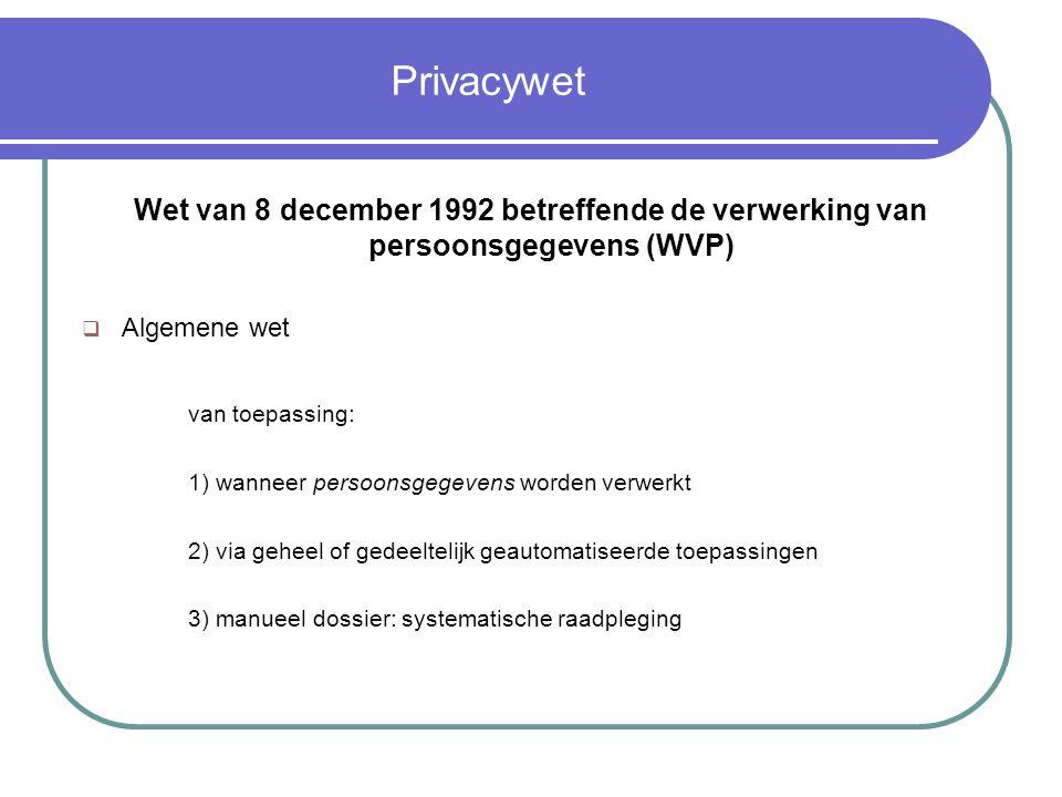 Privacywet Wet van 8 december 1992 betreffende de verwerking van persoonsgegevens (WVP) Algemene wet.
