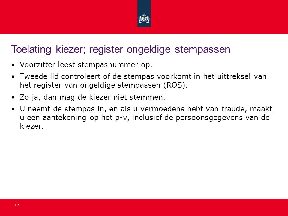 Toelating kiezer; register ongeldige stempassen