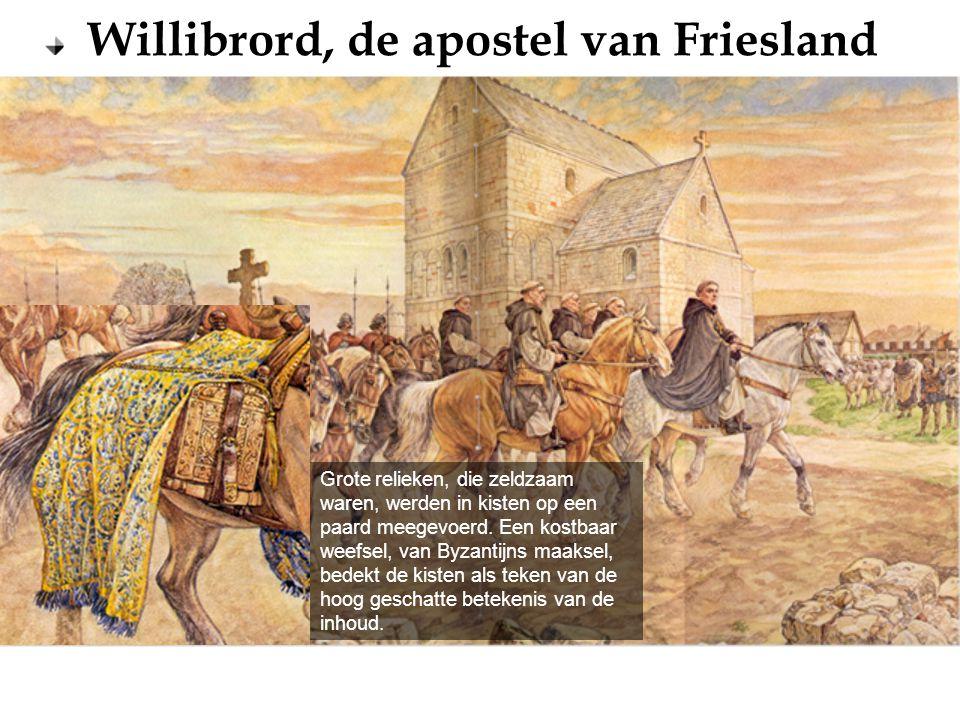 Grote relieken, die zeldzaam waren, werden in kisten op een paard meegevoerd.