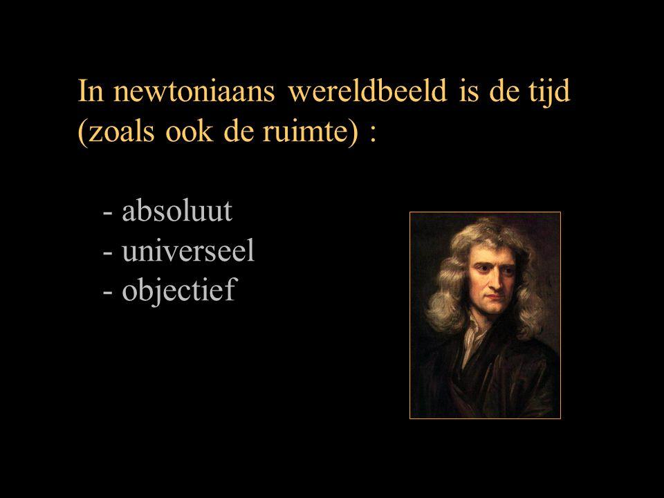In newtoniaans wereldbeeld is de tijd (zoals ook de ruimte) :
