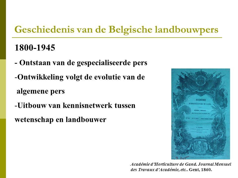Geschiedenis van de Belgische landbouwpers