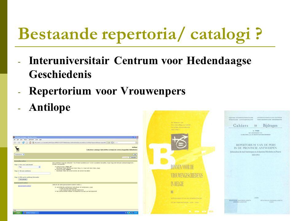 Bestaande repertoria/ catalogi