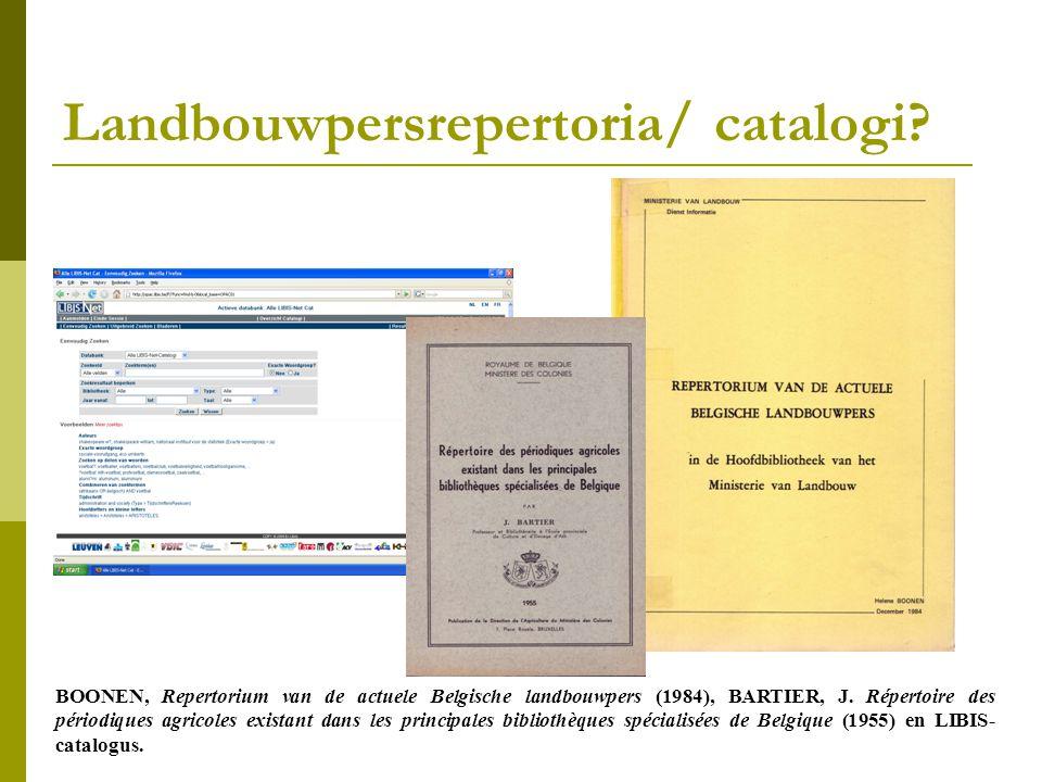 Landbouwpersrepertoria/ catalogi