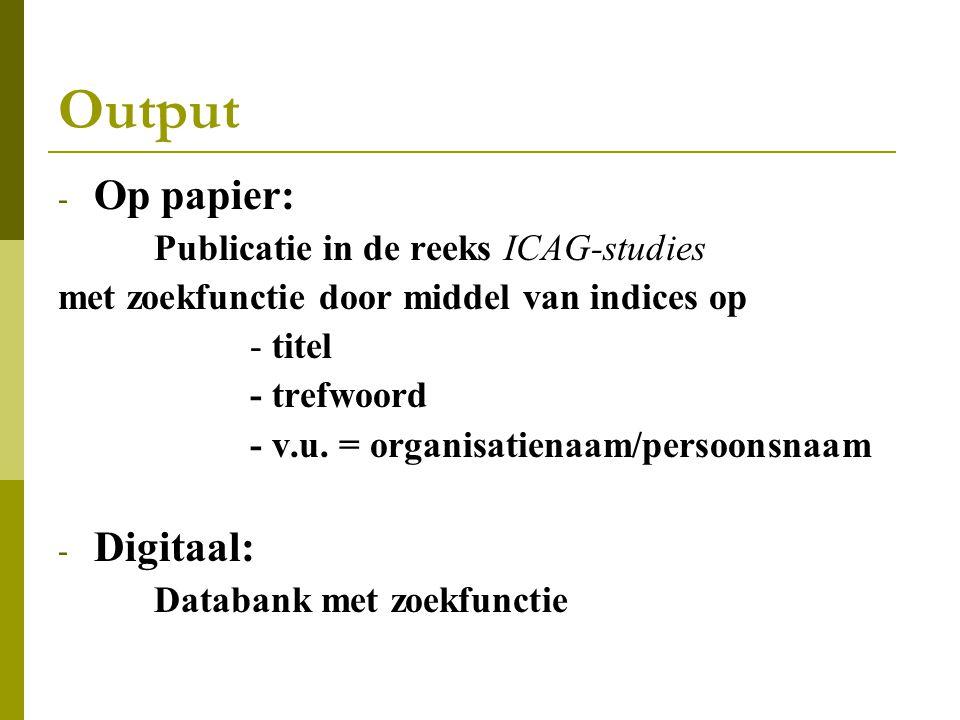 Output Op papier: Digitaal: Publicatie in de reeks ICAG-studies