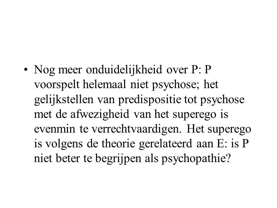 Nog meer onduidelijkheid over P: P voorspelt helemaal niet psychose; het gelijkstellen van predispositie tot psychose met de afwezigheid van het superego is evenmin te verrechtvaardigen.
