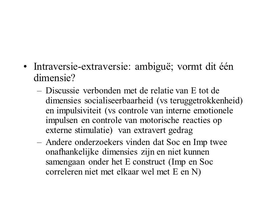 Intraversie-extraversie: ambiguë; vormt dit één dimensie