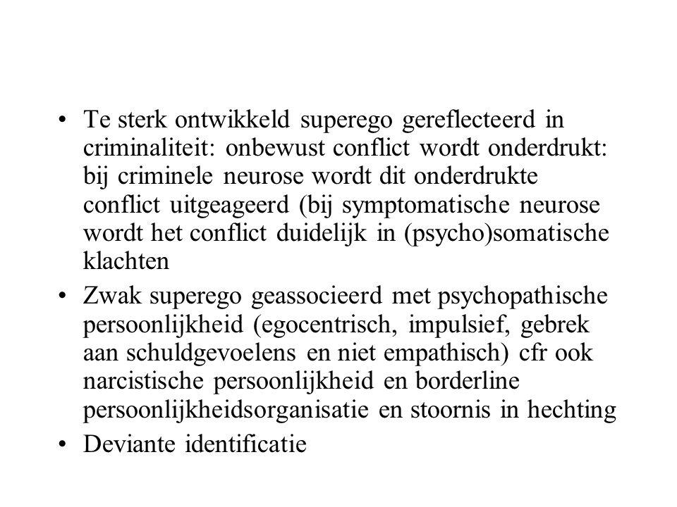 Te sterk ontwikkeld superego gereflecteerd in criminaliteit: onbewust conflict wordt onderdrukt: bij criminele neurose wordt dit onderdrukte conflict uitgeageerd (bij symptomatische neurose wordt het conflict duidelijk in (psycho)somatische klachten