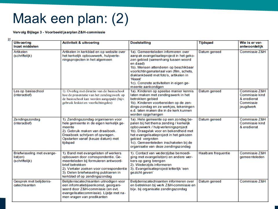 Maak een plan: (2) Dit betreft bijlage 3 uit het handboek Z&H.