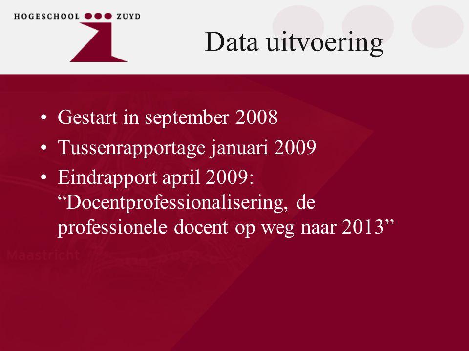 Data uitvoering Gestart in september 2008