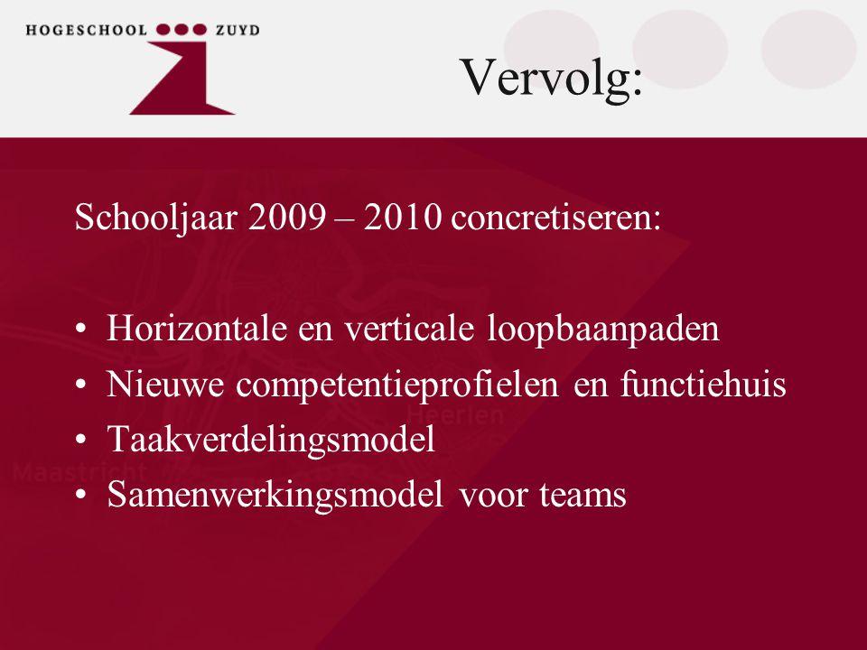 Vervolg: Schooljaar 2009 – 2010 concretiseren: