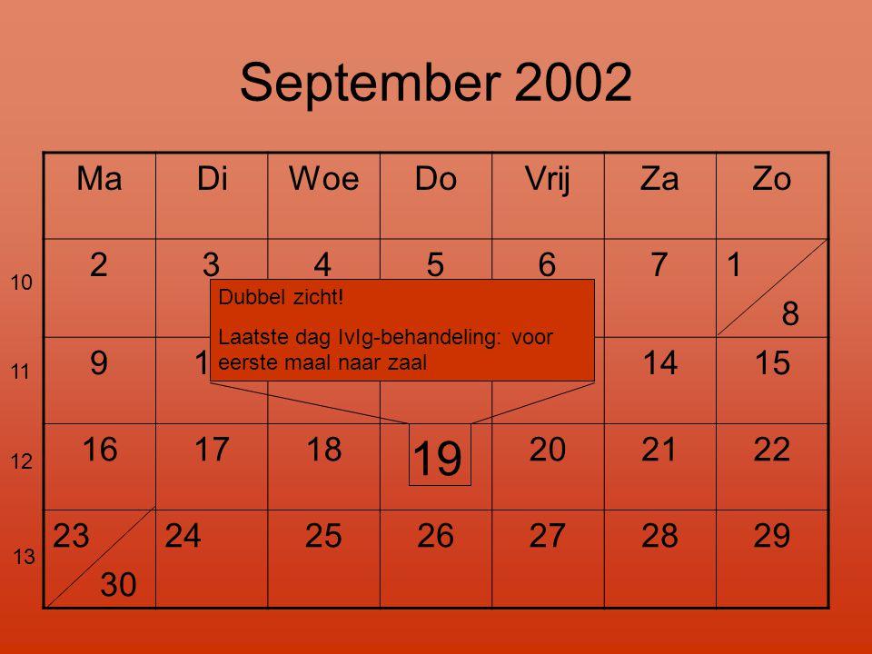 September 2002 19 Ma Di Woe Do Vrij Za Zo 2 3 4 5 6 7 1 8 9 10 11 12