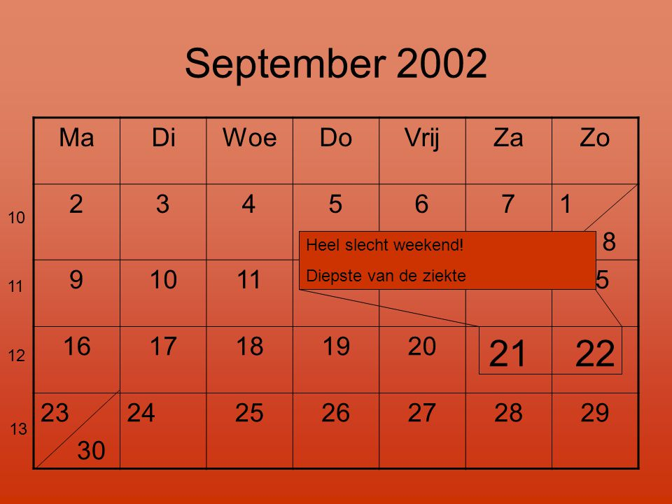 September 2002 21 22 Ma Di Woe Do Vrij Za Zo 2 3 4 5 6 7 1 8 9 10 11