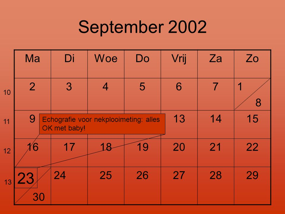 September 2002 23 Ma Di Woe Do Vrij Za Zo 2 3 4 5 6 7 1 8 9 10 11 12