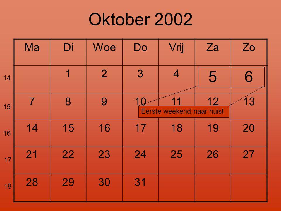 Oktober 2002 5 6 Ma Di Woe Do Vrij Za Zo 1 2 3 4 7 8 9 10 11 12 13 14