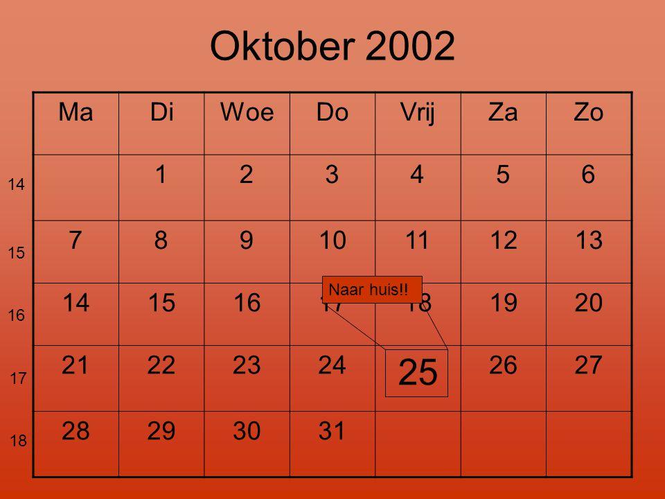 Oktober 2002 25 Ma Di Woe Do Vrij Za Zo 1 2 3 4 5 6 7 8 9 10 11 12 13