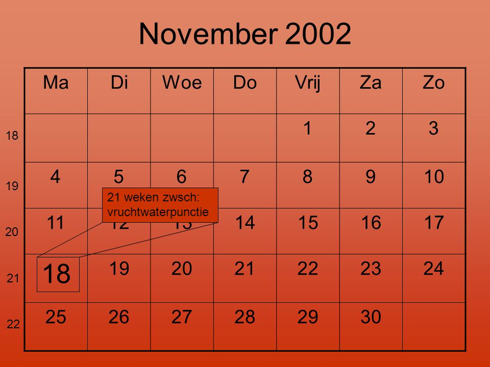 November 2002 18 Ma Di Woe Do Vrij Za Zo 1 2 3 4 5 6 7 8 9 10 11 12 13