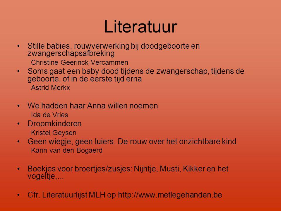 Literatuur Stille babies, rouwverwerking bij doodgeboorte en zwangerschapsafbreking. Christine Geerinck-Vercammen.