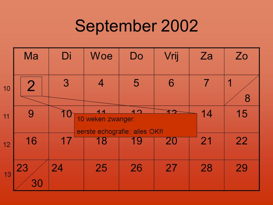 September 2002 2 Ma Di Woe Do Vrij Za Zo 3 4 5 6 7 1 8 9 10 11 12 13