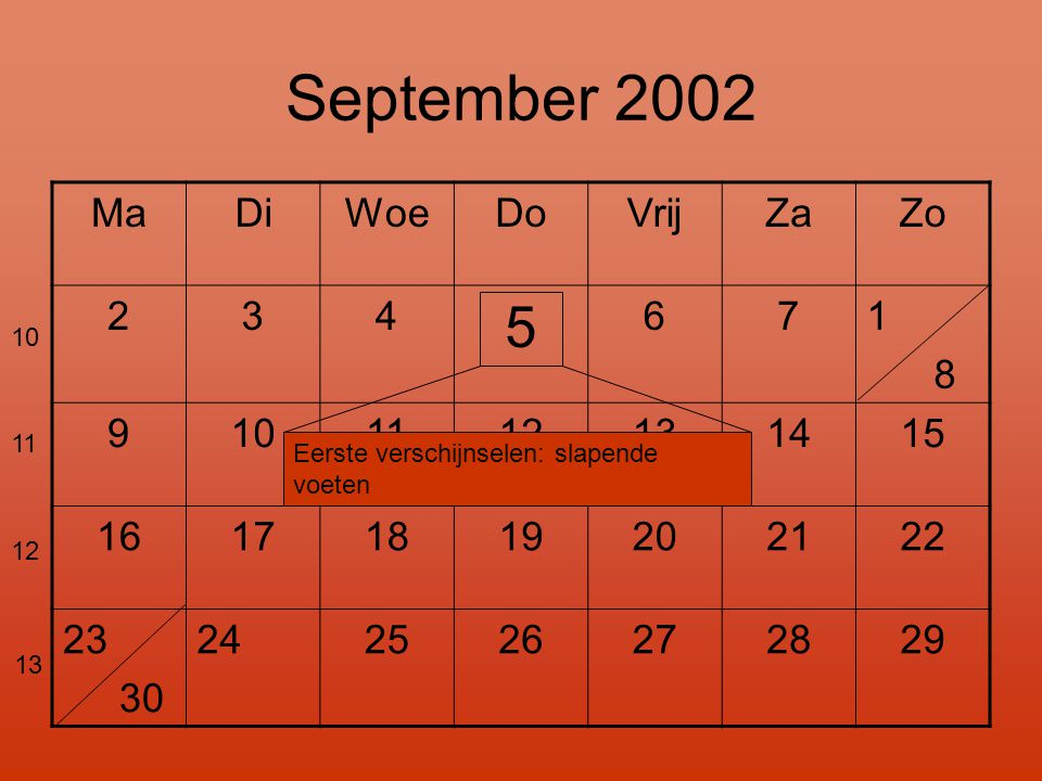 September 2002 5 Ma Di Woe Do Vrij Za Zo 2 3 4 6 7 1 8 9 10 11 12 13
