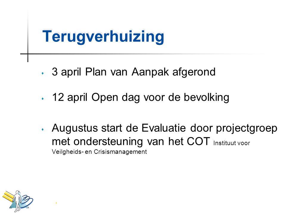 Terugverhuizing 3 april Plan van Aanpak afgerond