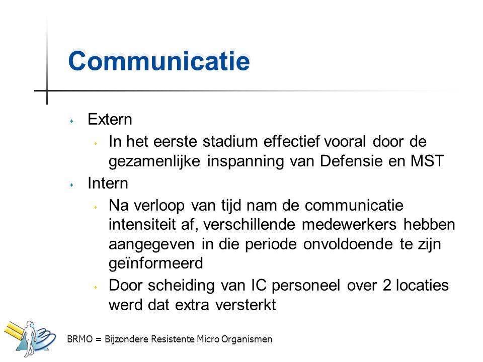 Communicatie Extern. In het eerste stadium effectief vooral door de gezamenlijke inspanning van Defensie en MST.