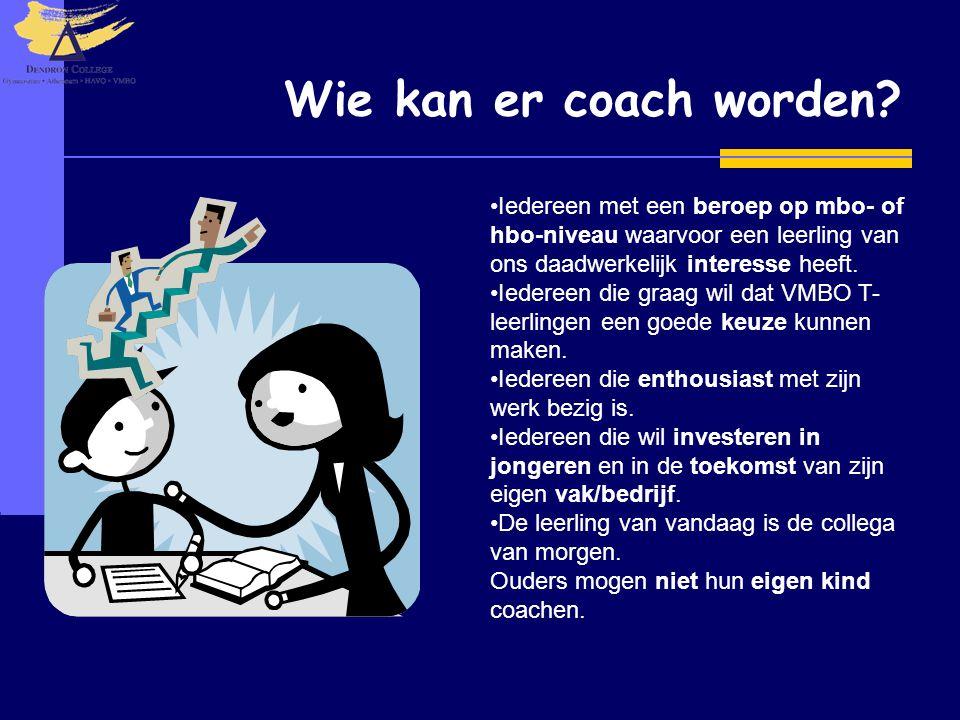 Wie kan er coach worden Iedereen met een beroep op mbo- of hbo-niveau waarvoor een leerling van ons daadwerkelijk interesse heeft.