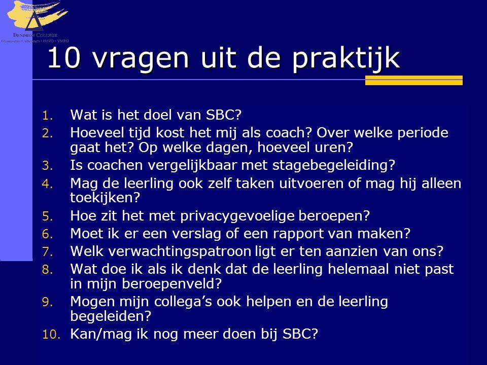 10 vragen uit de praktijk Wat is het doel van SBC