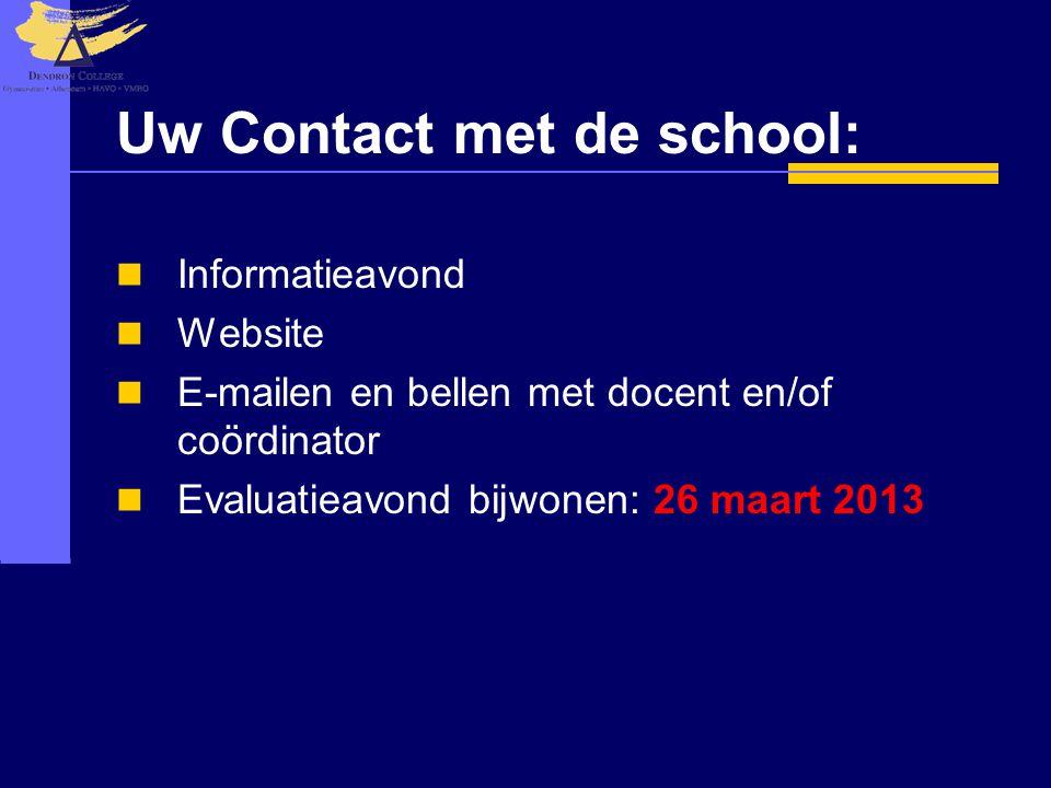 Uw Contact met de school: