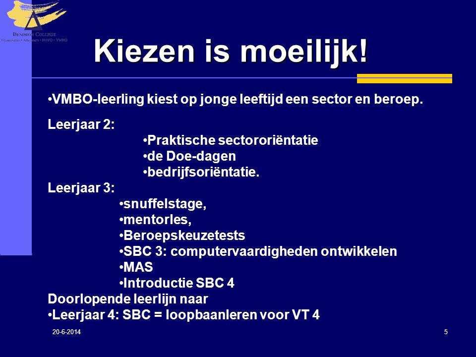 Kiezen is moeilijk! VMBO-leerling kiest op jonge leeftijd een sector en beroep. Leerjaar 2: Praktische sectororiëntatie.