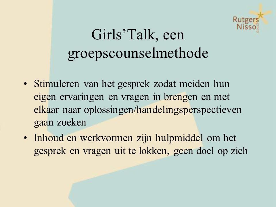 Girls'Talk, een groepscounselmethode