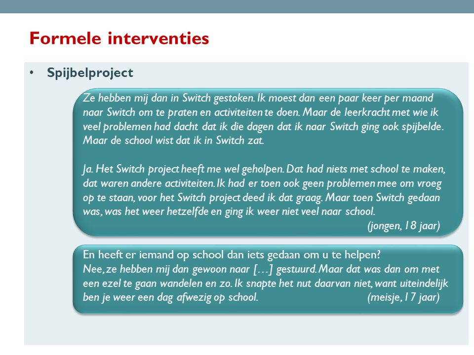 Formele interventies Spijbelproject