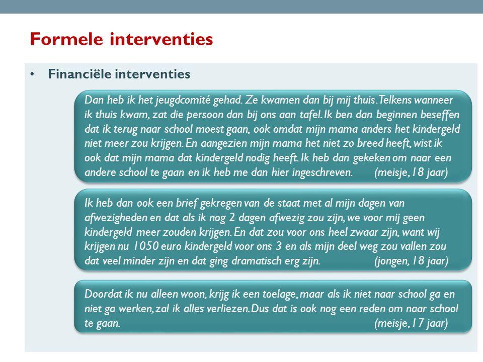 Formele interventies Financiële interventies