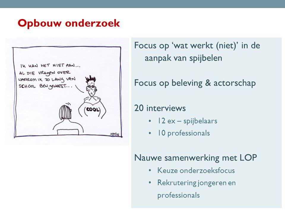 Opbouw onderzoek Focus op 'wat werkt (niet)' in de aanpak van spijbelen. Focus op beleving & actorschap.