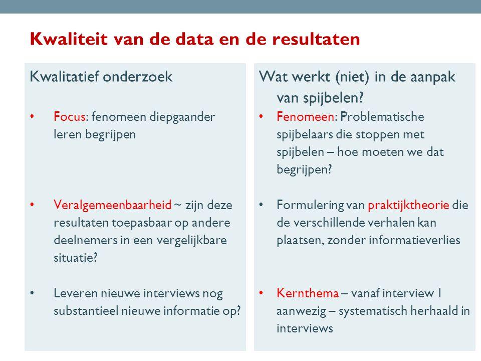 Kwaliteit van de data en de resultaten