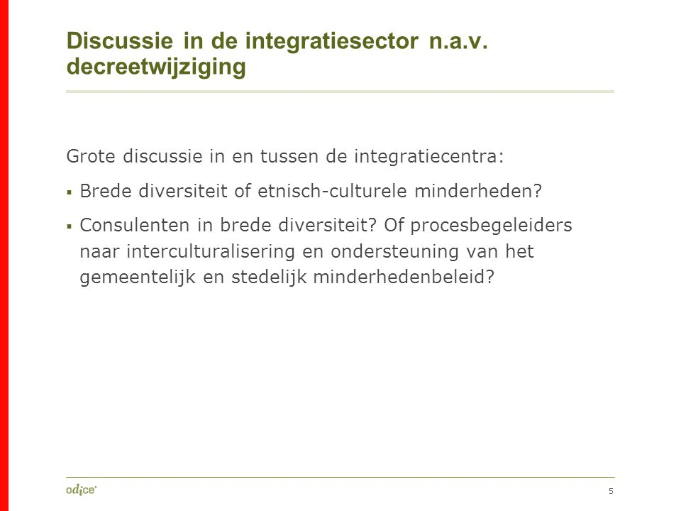 Discussie in de integratiesector n.a.v. decreetwijziging