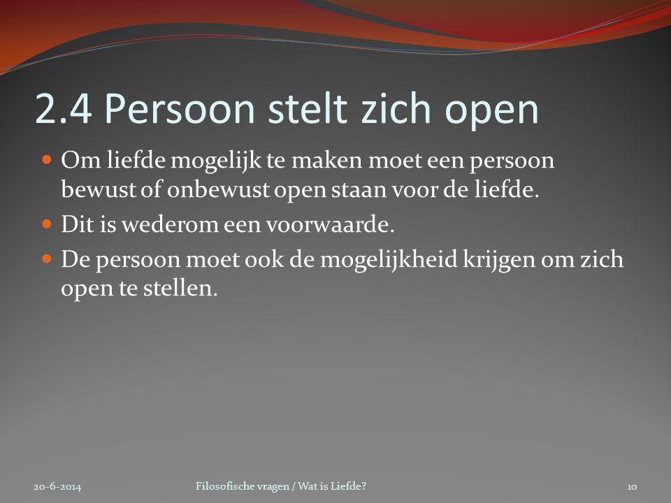 2.4 Persoon stelt zich open