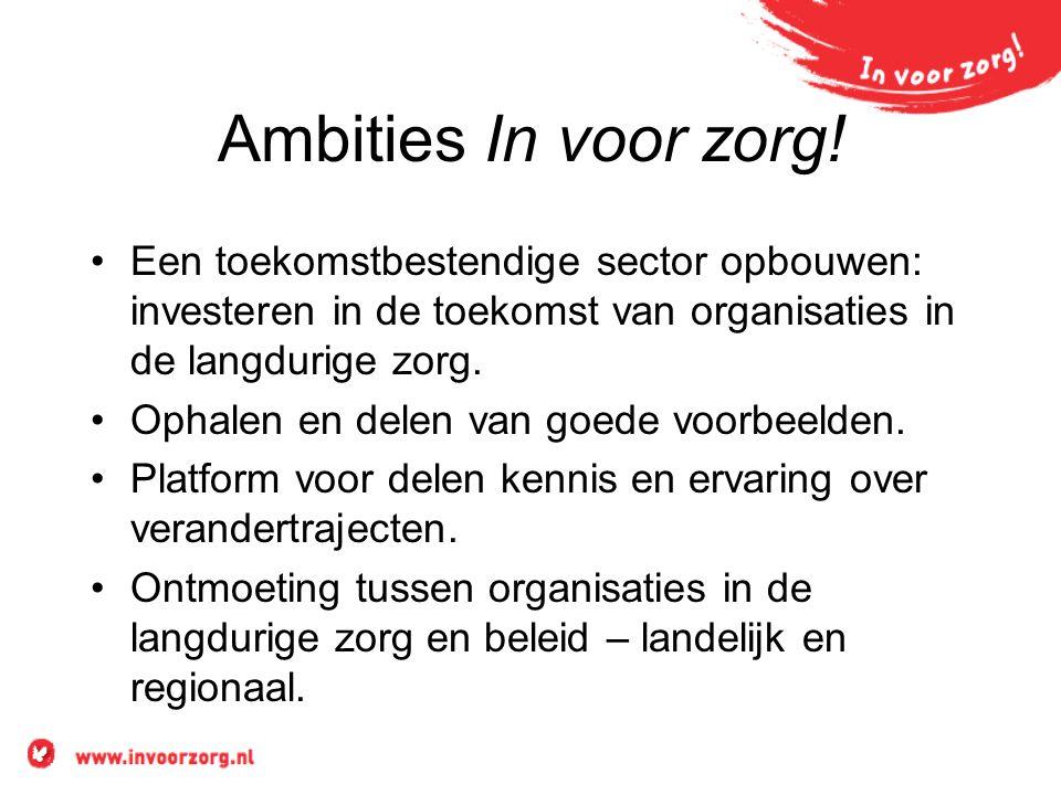 Ambities In voor zorg! Een toekomstbestendige sector opbouwen: investeren in de toekomst van organisaties in de langdurige zorg.