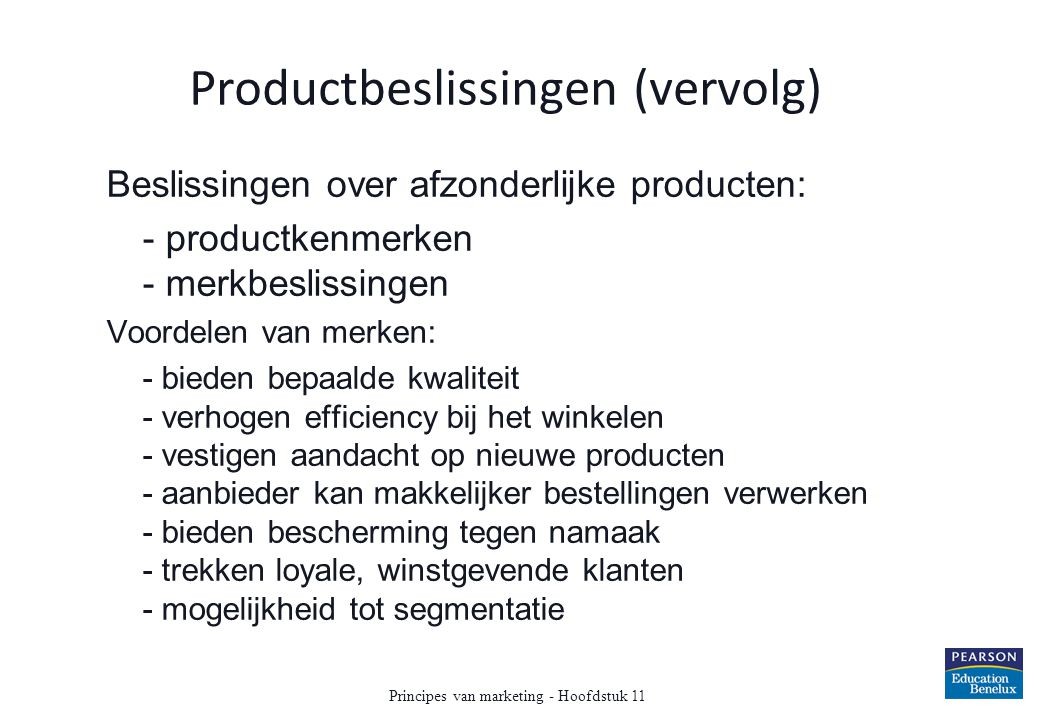 Productbeslissingen (vervolg)