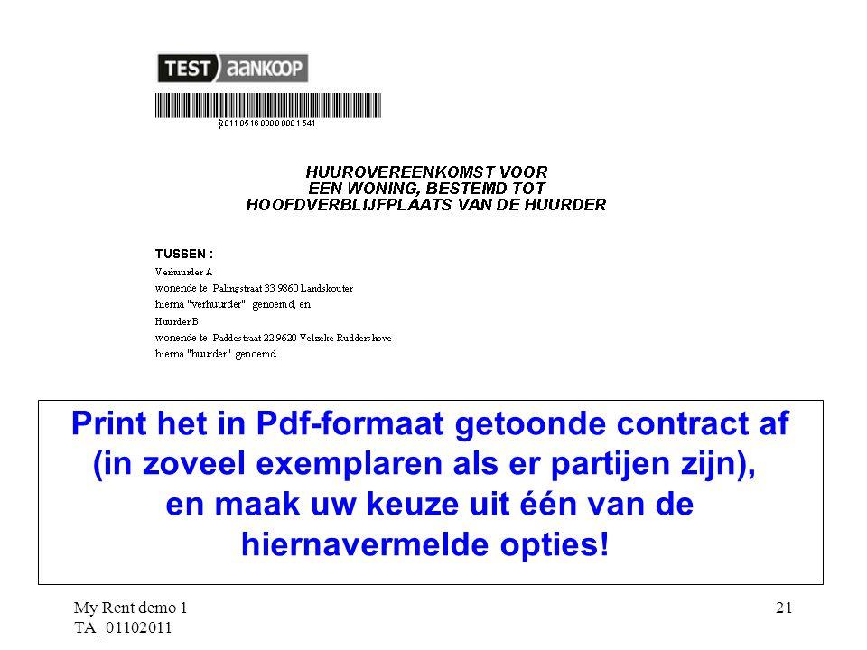 Print het in Pdf-formaat getoonde contract af